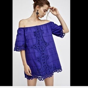 Free People Lace Insert Trim Off The Shoulder  L